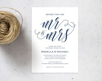 Navy Blue Rehearsal Dinner invitation template, rehearsal printable, invitation templates, wedding rehearsal, instant download, WPC_124