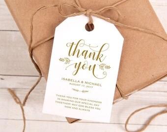 Gold Thank You Tag, Gift Tags, Wedding Thank You Tags, Wedding Favor, Thank You Printable, Favor Tag, DiY Kraft Printable tags, WPC_177