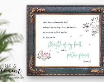 Psalm 73, bible verse wall art, printable verses, prints, printable women gift, hand painted, Bible verse, digital download, digital print