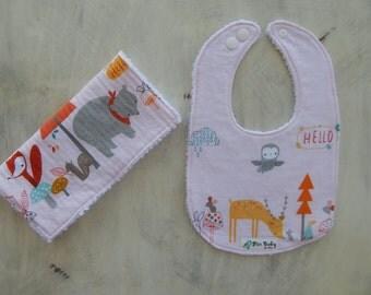 Drool bib Baby Girl- Baby girl burp cloth- baby girl burp cloth set- Woodland burp cloth, Woodland bib -Baby shower gift
