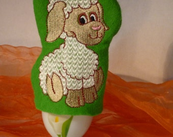 Egg with motif embroidered lamb