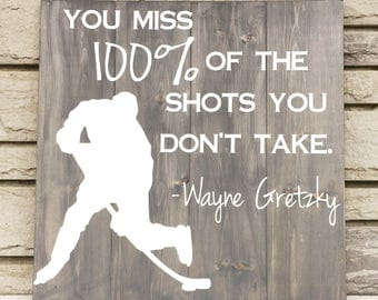 Hockey Player Sign - Wayne Gretzky Quote - Rustic Sign - Boy Room Sign - Hockey Coach Gift - Man Cave Gift - Hockey Decor - Sports Nursery