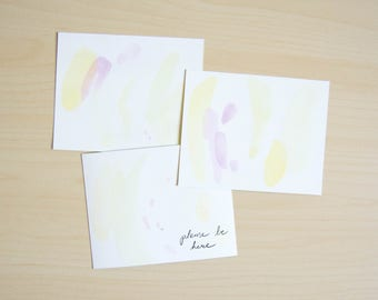 Yellow and Pink Painted Postcards