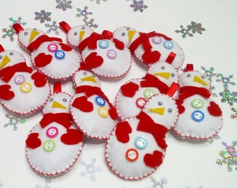 Christmas cute snowmans felt christmas ornaments felt snowman christmas gift Felt Puffy Holidays Ornaments Felt Christmas Decorations