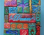 Decorated wooden box, polymer clay mosaic, dream, dragonfly, God box, intention box