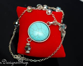 Silver And Blue Beaded Necklace With Large Turquoise Pendant 148NK