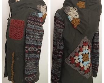 Upcycled jacket, crochet flower jacket, granny square coat, women's winter jacket, women's winter coat, Upcycled clothing, Green jacket