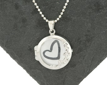 925 Sterling Silver Glass Locket, Magnifying Locket, Glass Memory Locket