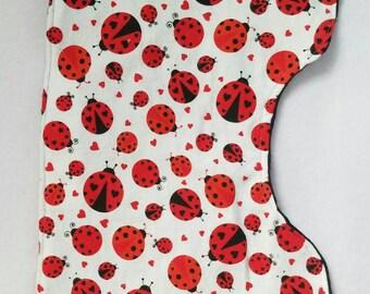 Lady bug burp cloth
