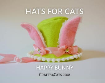 Easter Bunny Cat Top Hat - Lightweight Cat Top Hat - Green Felt Hat with Pink Fluffy Ears