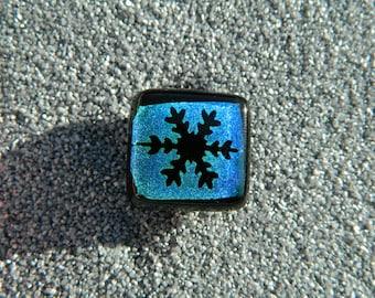 joke glass fusion black blue dichroique snowflake