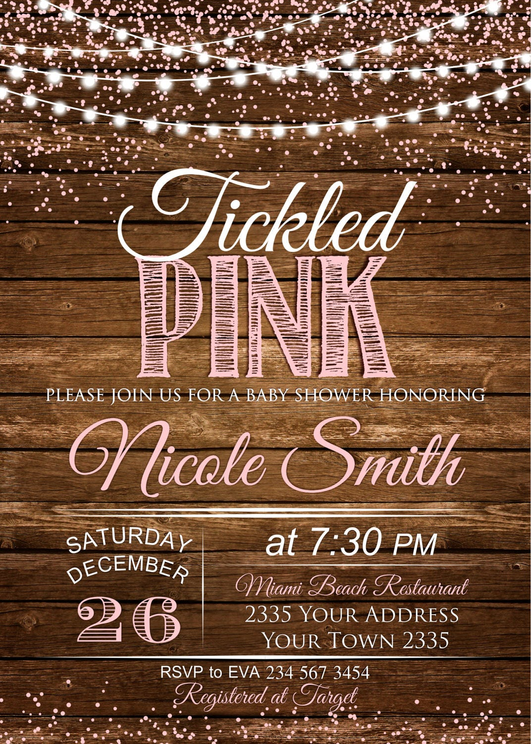 Baby Shower Invitations. Tickled Pink Baby Shower. Baby Girl ...