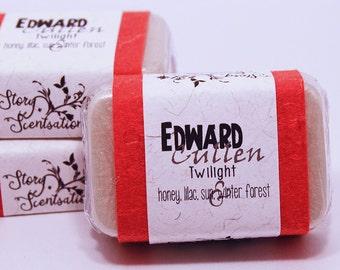 Edward Cullen The Twilight Saga Glycerin Soap Bar - Handmade Custom Book Character Scent, Fragrance, Metallic White Shimmery Snow Pearl Ice