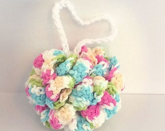 READY TO GO/ Hook/ Crochet/ flower sponge/ shower/ bath puff/ flower puff
