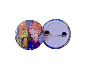 """Retro Ms. Frizzle Pinback Button (1.25"""")"""