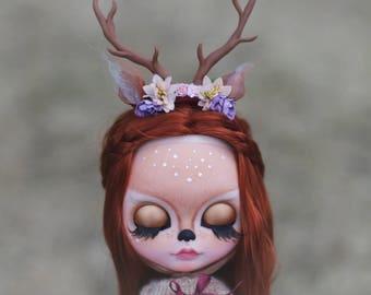 Bambi•custom Blythe doll ooak handmade piece long red factory hair tbl fake reindeer art