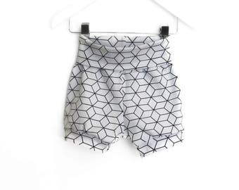 Geometric white shorts