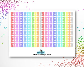 Transparent Rainbow Dots Planner Stickers | ECLP | Happy Planner | Recollections Planner | Planner Stickers