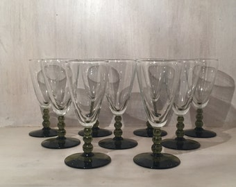 Vintage Cordial Green Stemmed Glasses (set of 9)