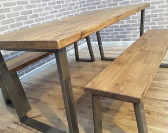 Hoxton Reclaimed Wood Industrial Dining Table Metal U frame 220 x 80cm 10 seater Brown