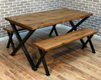 Brinkley X Reclaimed Wood Industrial Dining Table Metal frame 120 x 80cm 4 seater Brown