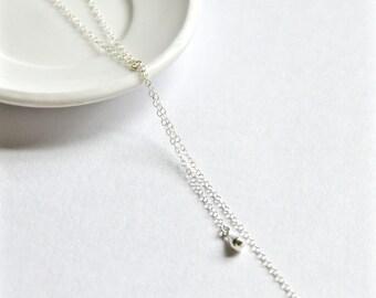 Silver teardrop lariat necklace