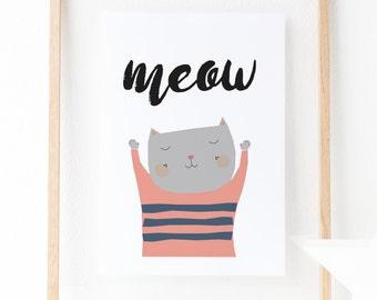 Cat Kitten Illustration Nursery Wall Art – A4 Digital Print, Instant Download