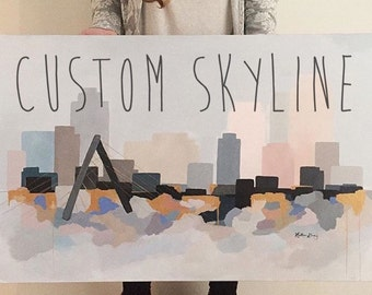 CUSTOM ORIGINAL City Skyline abstract cityscape painting