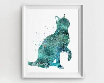 Cat Printable, Digital Cat, Cat Wall Art, Cat Painting, Cat Watercolor, Large Printable, Gift for Children, Nursery Illustration, Room Decor