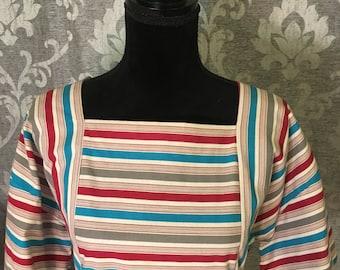80's Vintage Handmade Stripe Dress-Vintage Dress-Multi-color Pattern- Unique Vintage Dress-Handmade Dress-One of a Kind Dress