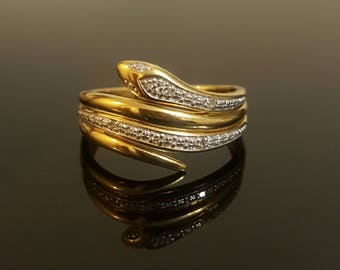 15% Off***Diamond Snake Ring in 9K Yellow and White Gold