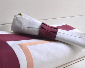 Plain White Fabric Tablecloth, Modern Design, White Color, Bordeaux Ribbon, Pink, Tablecloth, White Tablecloth
