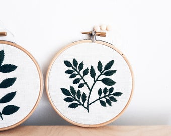 Leaves hand embroidery hoop art Home decor Floral embroidered wall hanging Embroidery art Fabric Wall Hanging Home Decor Hand Embroidery