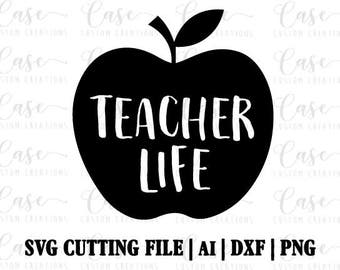 teacher apple clipart black and white. Teacher Life SVG Cutting File, Ai, Dxf And Png | Instant Download Cricut Apple Clipart Black White
