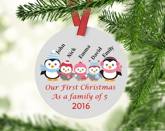 Our First Christmas as a Family of Four - Family of Five - Family of six - Family Ornament -Custom Family Ornament -Penguin Family Ornament