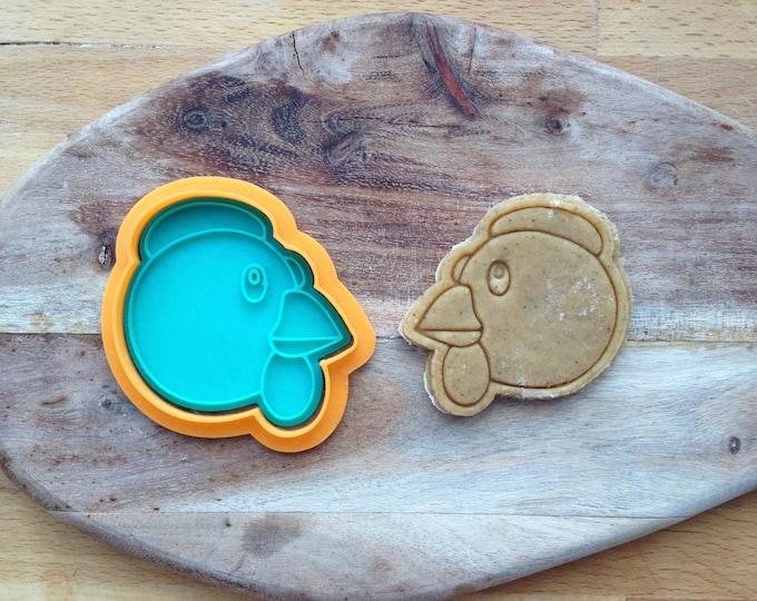Chicken emoji cookie cutter. Hencookie stamp. Animal cookies