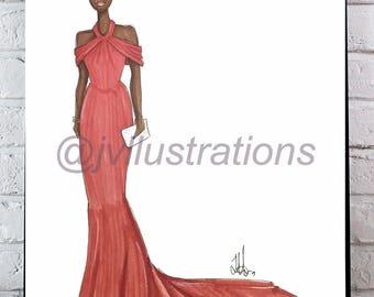 That Red Dress. Fashion Illustration Print.