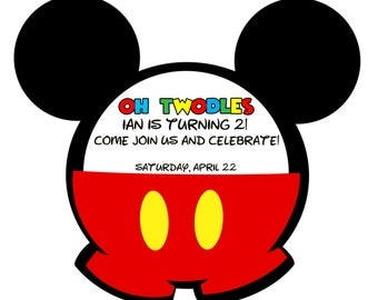 Set of 30 Custome Handmade Mickey Mouse Invitations