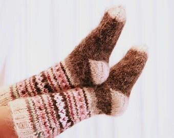 Womens gift long socks Warm socks Wool socks Hand Knit socks Wool knit socks Women socks knitted socks Natural Socks