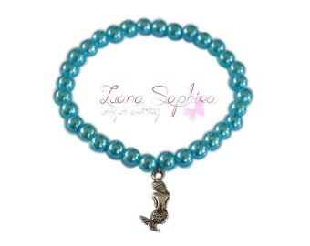 Pearl bracelet turquoise with mermaid