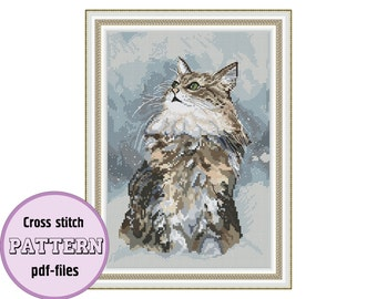 The Winter Cat / PDF cross stitch pattern / instant download