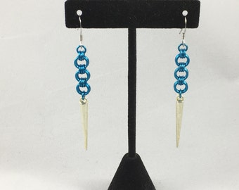 Blue Earrings with Silver Spikes