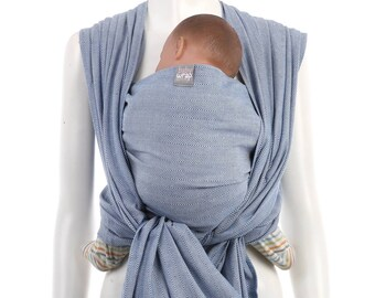 Woven Baby Wrap - Blue-White Baby Wrap by babywrap.com.my - Woven Wrap Baby Carrier