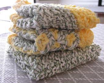 Crocheted Dishcloths: Yellow/Green (set of 3)