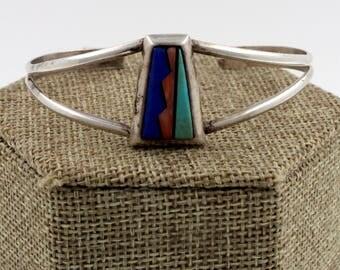 Navajo Sterling Silver Multi Stone Inlay Bracelet by Teme