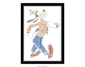 PERSONALISED Goofy Word Art Print Gift Idea Birthday Present Wall Art Home Decor Print Mickey Mouse Character Dad Uncle Grandad Boyfriend