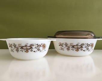 Vintage JAJ Pyrex Vine Pattern Casserole Dishes