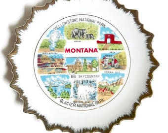 Vintage Montana collectible hanging plate with gold mettalic edge