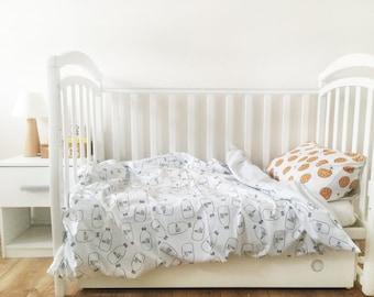 Baby Bedding - Nursery Bedding Set - Black Milk Bedding - Baby Bedding Crib - Unique Bed Clothing - Handmade Bedding Set - Black And White
