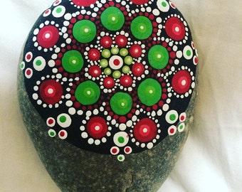 Green & Red Large Mandala Stone